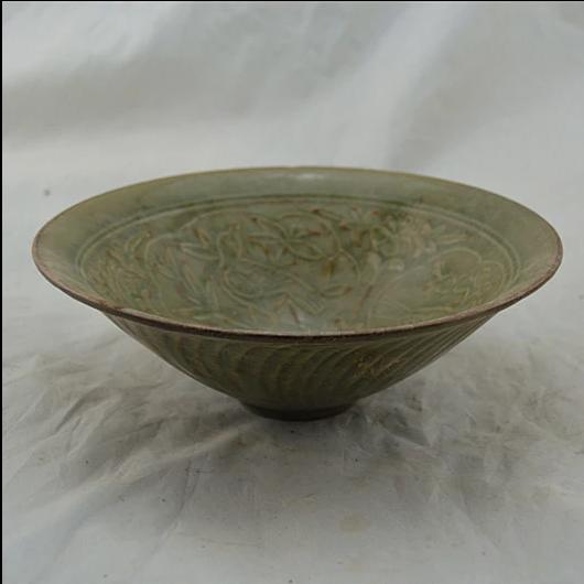 供应耀州窑青瓷花鸟刻花碗 古董古玩杂项 仿古瓷器