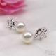 供应 925微镶银戒指珍珠 馒头圆极强光天然珍珠戒指**女复古优雅
