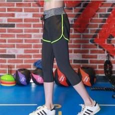 春夏女新款跑步运动中长裤 瑜伽健身七分裤 假两件速干吸汗紧身裤