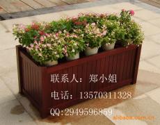 室外实木花箱 户外木制花箱 道路隔离带花盆