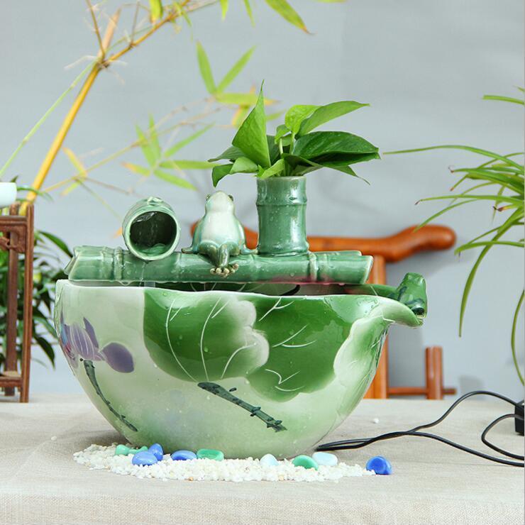 供应家具创意陶瓷工艺品摆件竹子喷泉客厅办公室礼品加湿器流水鱼缸