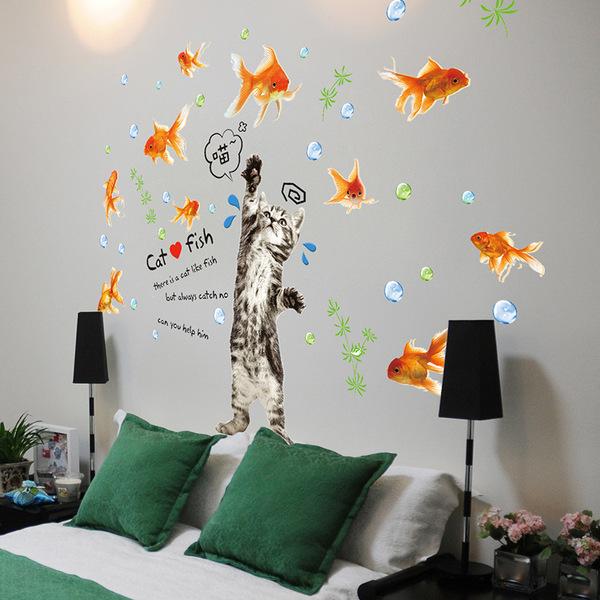 貓咪抓魚金魚仿真水草氣泡創意個性壁紙墻貼畫臥室客廳可移除貼紙