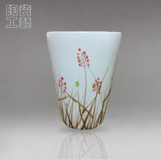 营口鲅鱼圈 工艺品 瓷器 陶瓷 景德镇 亚光手工拉坯手工荷花杯子