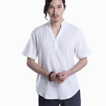 唐装中国风民族亚麻短袖t恤 男式V领改良唐装汉服