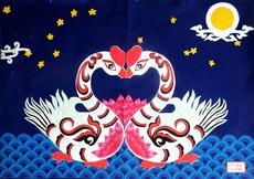 安塞民间艺术品  《 夜曲》(布堆画+农民画+剪纸) 纯手工 70*50cm  造型美观,剪工精致