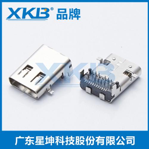 供应台湾星坤USB3.1直立式贴片180度贴板SMT母座