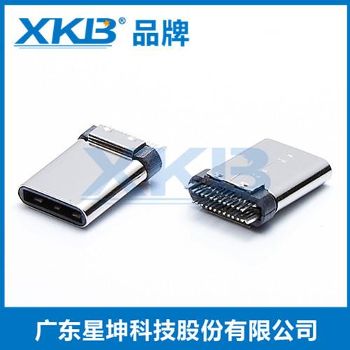 供应台湾星坤USB3.1插头type-正反插连接器 夹板式公头