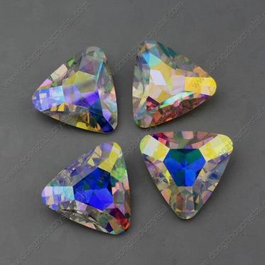 厂家直销 三角形 AB彩水晶镀银尖底花式石 异形钻 玻璃水晶饰品配件 散珠
