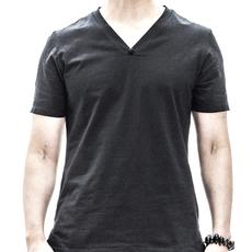 2016夏季新款男士短袖T恤休闲纯色半袖体恤衫时尚修身V领t恤