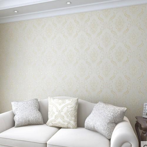 好一家无缝墙布 欧式简约刺绣壁布 现代客厅电视背景