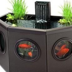鱼缸水族箱中型生态鱼缸户外庭院喷泉大鱼缸别墅缸含过滤系统