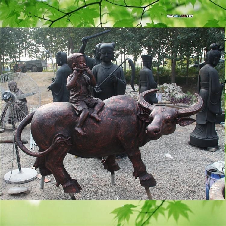 园林雕塑厂家直销玻璃钢雕塑牧童骑黄牛雕塑放牛娃雕塑