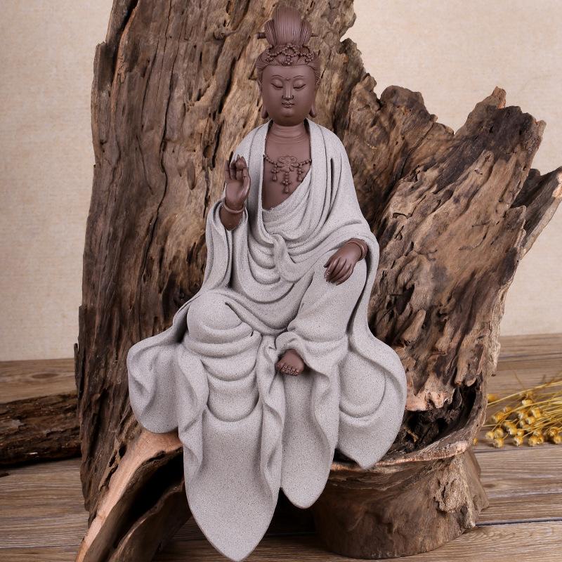 厂家直销紫砂陶菩萨佛像 观音佛像陶瓷摆件 家居风水装饰工艺品
