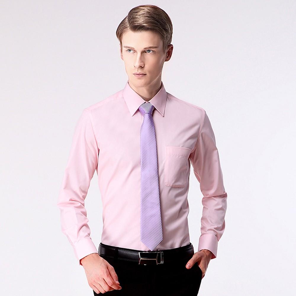 纯色男士商务衬衫 职业装衬衣 男士长袖尖领衬衫定做 厂家直销 售后无忧