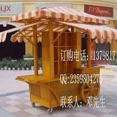 户外木质手推车 公园移动售货车 购物广场木制花车