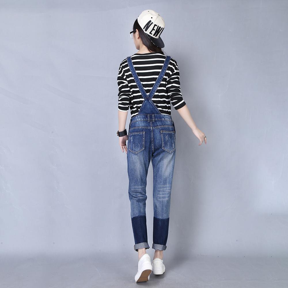 2016秋季新款 韩版修身显瘦 女士背带裤 女式背带牛仔裤 3912图片
