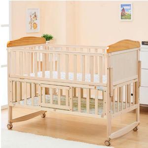 WBB609婴儿床实木摇床多功能宝宝床新生儿bb床带蚊帐无油漆女孩童床