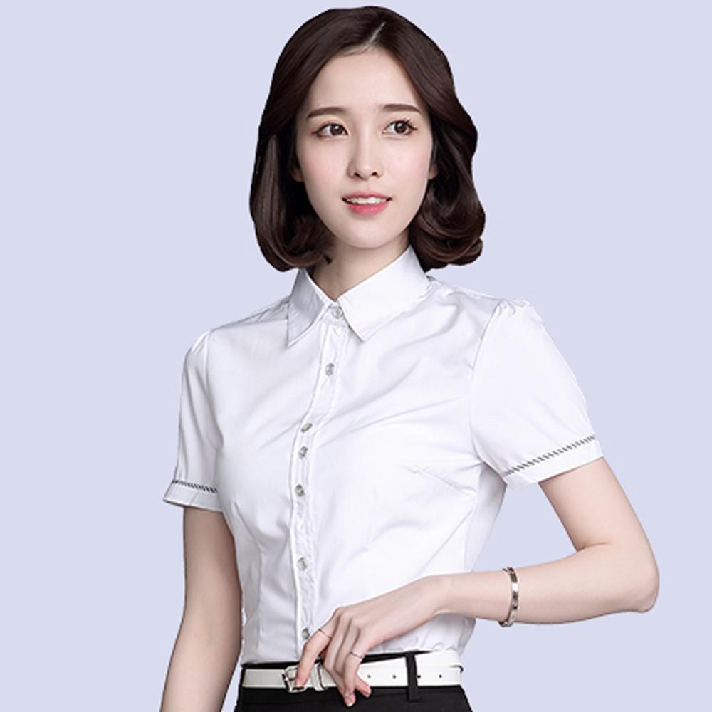 女士职业衬衫 职业衬衣定做  女式短袖拼接衬衫定做 售后无忧 免费修改