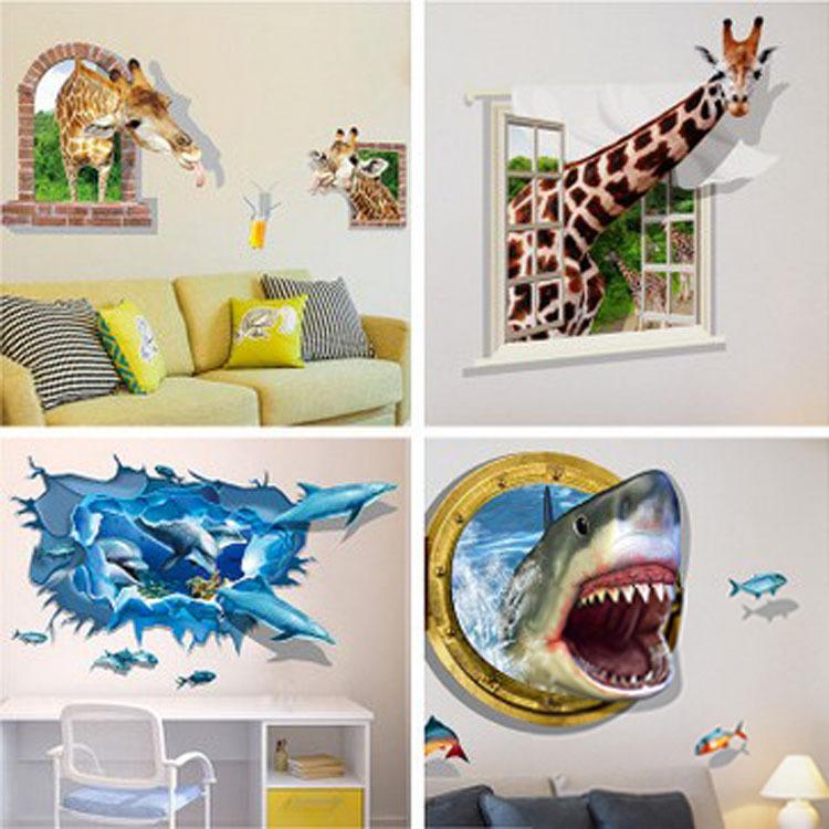 3d 立体墙贴客厅卧室电视背景墙玄关装饰贴纸创意动物可移除贴画