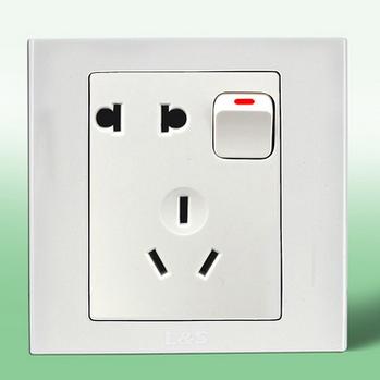 供应 联塑电气暗装单相二三极带开关单控插座