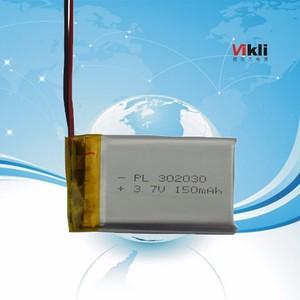 供应蓝牙耳机锂聚合物电池302030-150mah