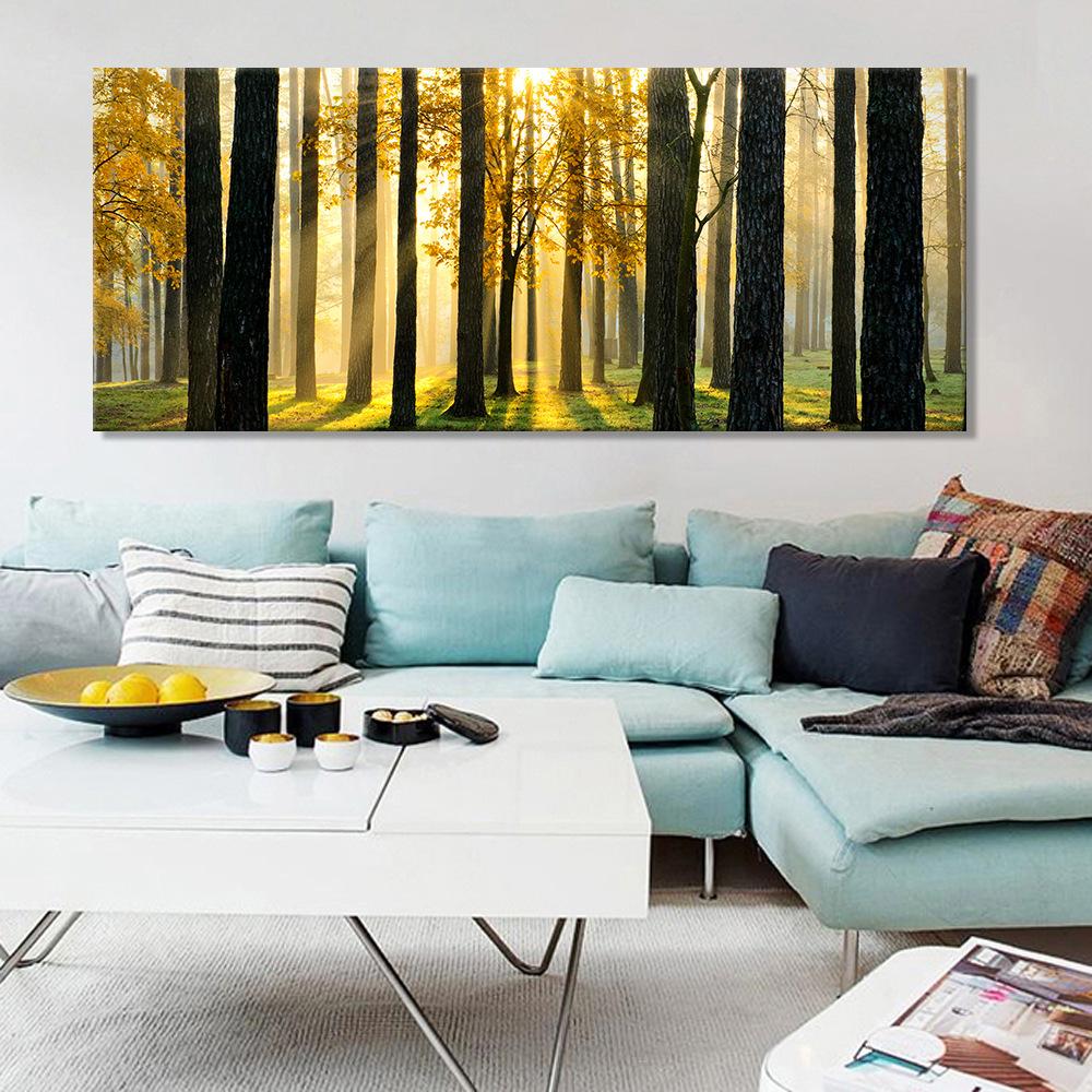 客厅装饰画批发金色阳光树林风景画家庭挂画无框现代家居背景壁画图片