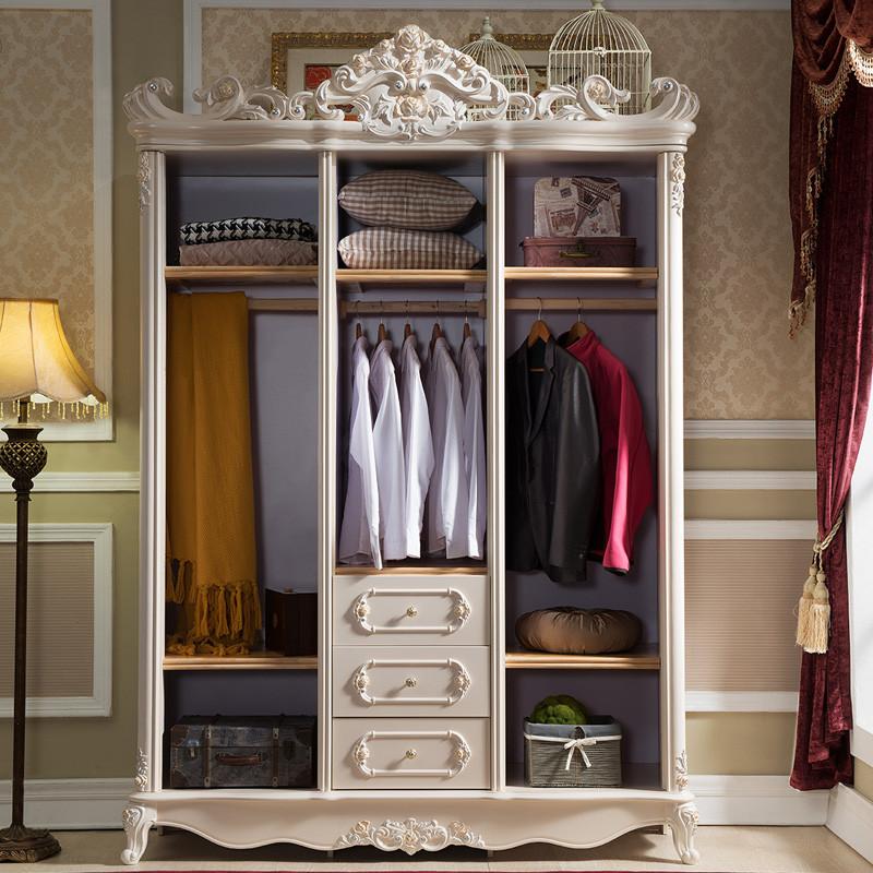 欧式衣柜三门1.6米实木衣柜白色卧室家具衣橱雕花3门衣柜图片