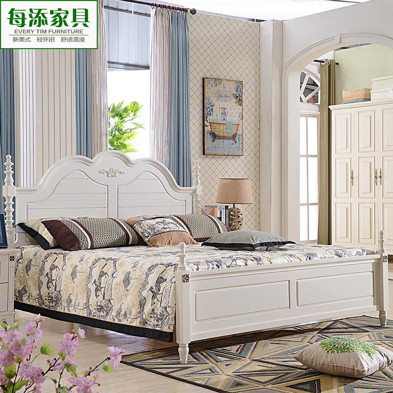 欧式公主床实木床真皮双人床 卧室雕花白色婚床 一件