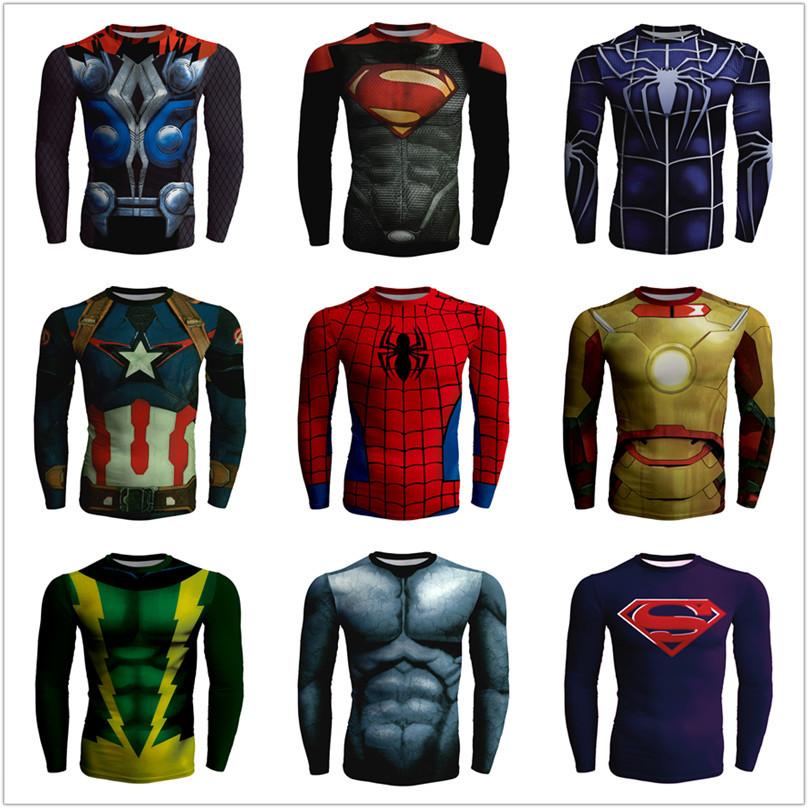 超人t恤紧身衣男超级英雄蝙蝠侠蜘蛛侠骑行速干衣运动长袖