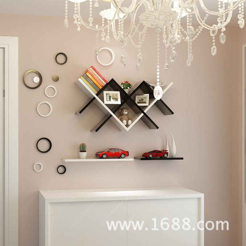 简约现代书架隔板置物架背景墙装饰架壁架木创意格子壁柜搁板层板图片