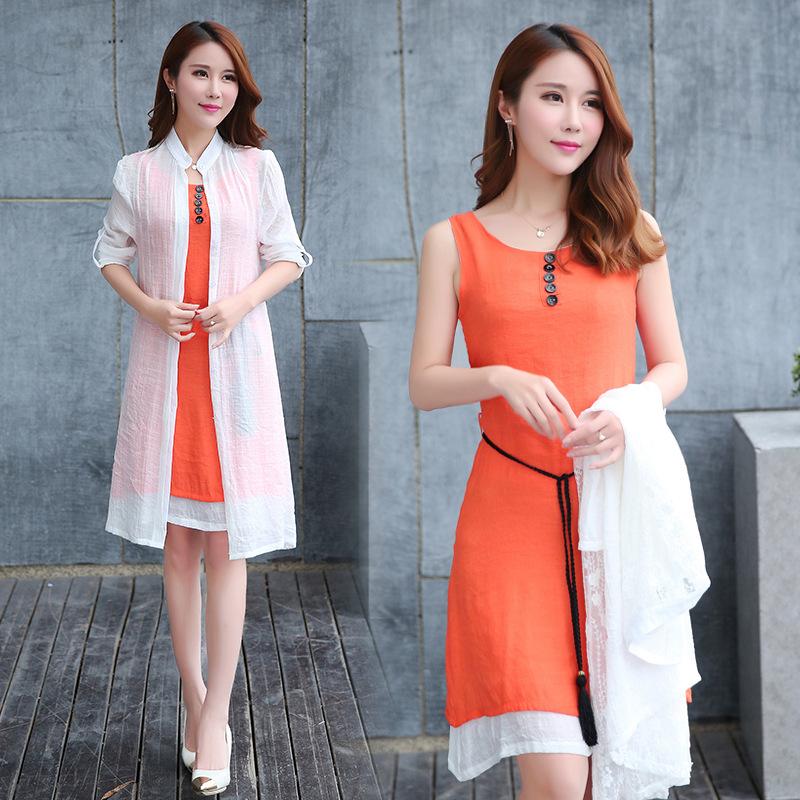 棉麻两件套连衣裙2016夏装韩版修身中长款长袖披肩套装裙图片