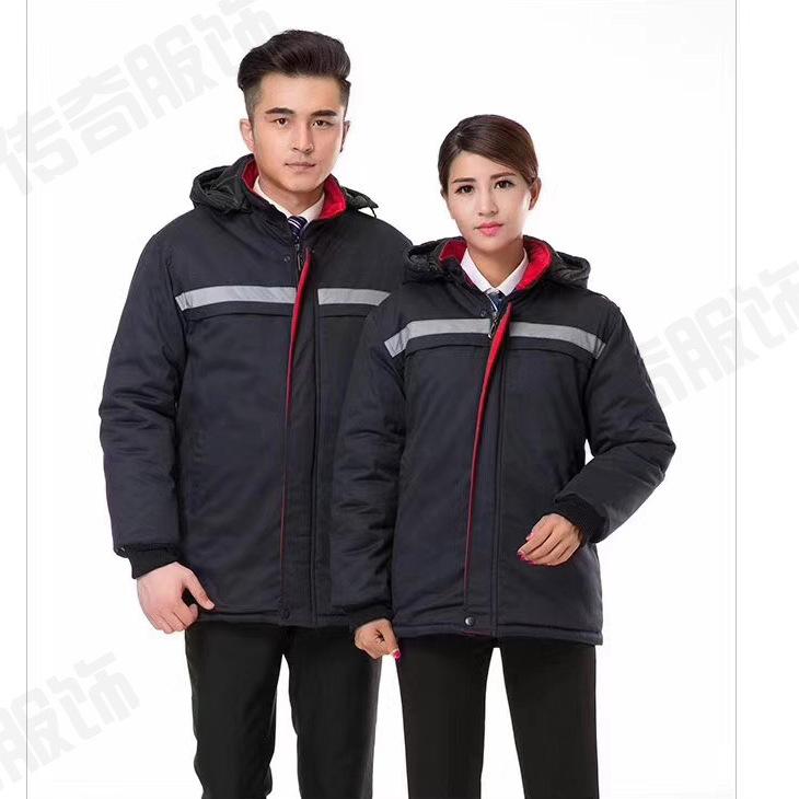 秋冬防寒工装工作服定制厂家加厚员工保暖制服棉服