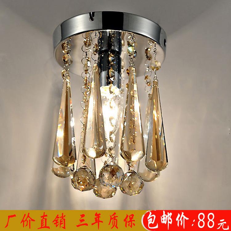 欧式干邑色水晶吊灯LED吸顶灯阳台水晶灯玄关走廊过道灯具灯饰