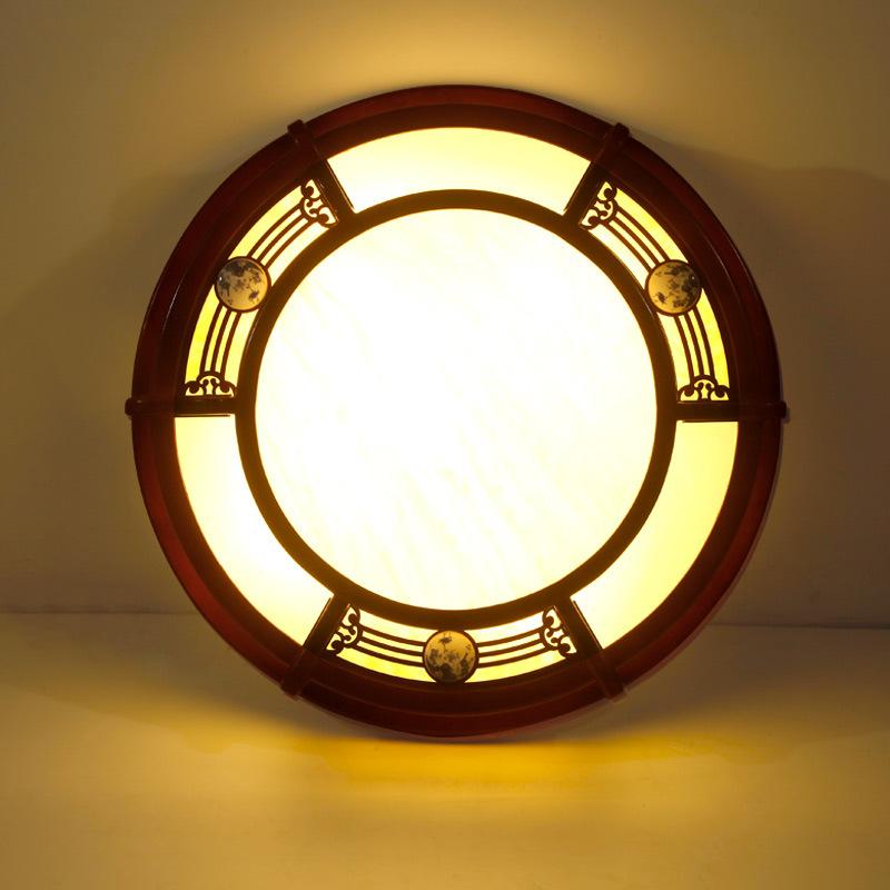 现代新中式吸顶灯仿古木艺圆形客厅卧室灯亚克力餐厅茶楼灯1390图片