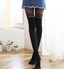 供应拼接假大腿假高筒双横条丝袜