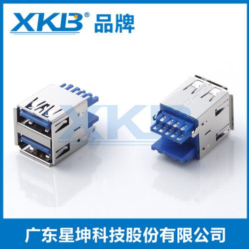 供应香港星坤USB3.0双层180度母座立式直插 双USB立式插拔插座双口母座