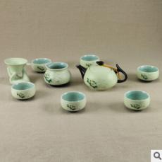 茶具 定窑茶具套装 亚光雪花功夫茶具 10件套茶壶批发 礼品礼盒