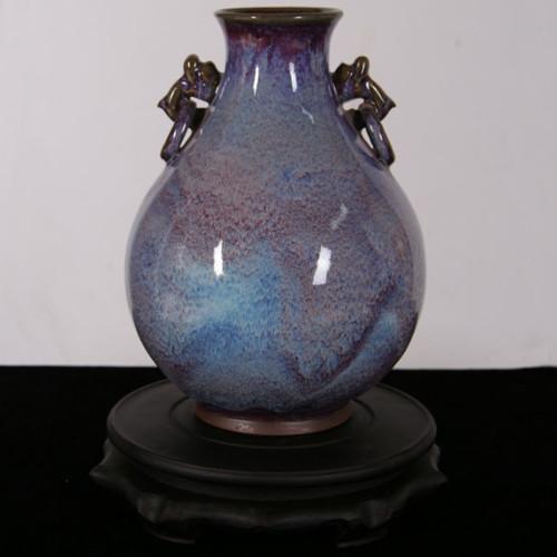 双龙瓶--豫鼎钧窑仿清具有收藏价值精品新中式摆件