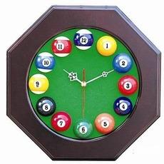 台球厅挂表 八角台球时钟 八角台球钟 木质台球钟 桌球台用品