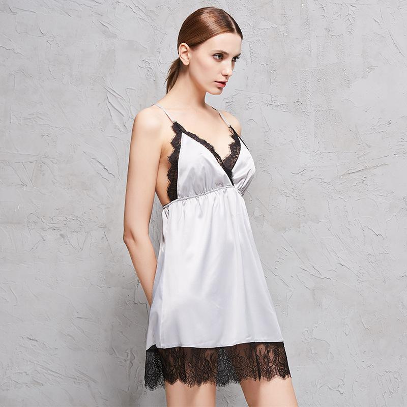 厂家直销 2017夏季新款性感仿真丝睡衣睡裙套装女士两件套睡衣女 睡袍