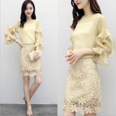 供应夏装2017新款女装时尚韩版套装女气质显瘦修身蕾丝包臀裙两件套潮