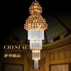 复式楼传统水晶楼梯灯 创意现代简约工程吊灯 金色水晶吊灯