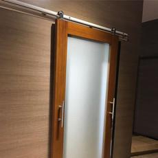 欧美精品酒店工程玻璃镜子框架移门滑轮15C不锈钢谷仓门静音顺畅吊轮滑轮