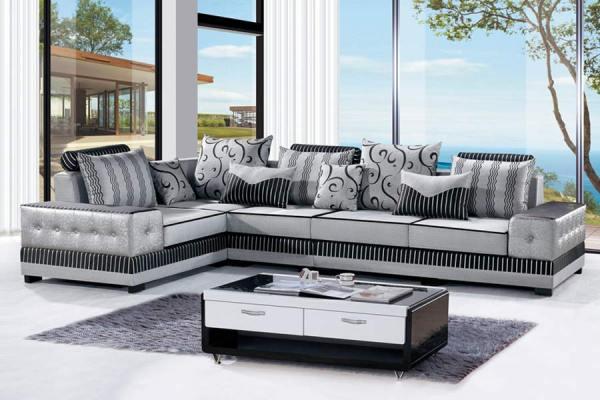 【钰门】简约现代 布艺沙发 木质工艺沙发 水纹印花 客厅沙发套装右