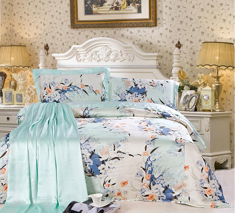 特价丝绸订做床品套件 桑蚕丝拼接款印花纯色素绉缎全真丝四件套