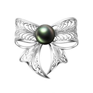 北海珍珠批发  大溪地珍珠胸针 简约优雅  银镀白金 防辐射珍珠胸针