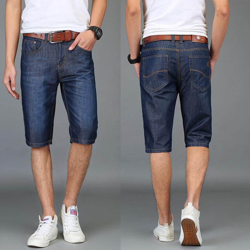 牛仔短裤男夏季薄款5分裤 青少年直筒修身裤韩版青少年牛仔短裤