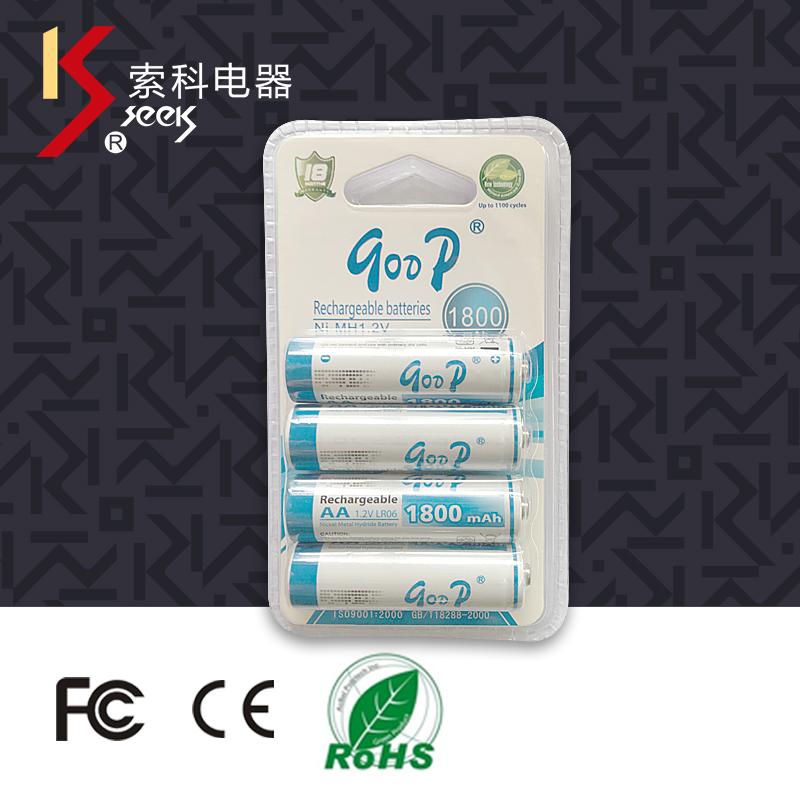 供应 热销高容量镍氢5号AA充电电池1800毫安 厂家直销