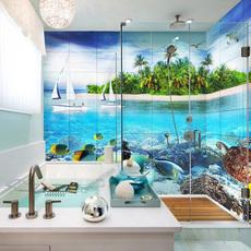 华艺品陶微晶石电视背景墙瓷砖3D瓷砖 立体壁画 海上小岛 墙面砖 防滑卫浴瓷砖 3D釉中彩微晶石