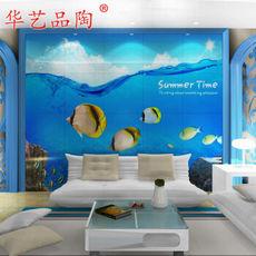 华艺品陶 电视沙发背景墙瓷砖 3D海洋壁画海底世界微晶石瓷砖3D釉中彩微晶石